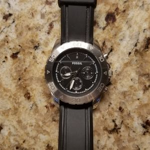 Black and Stainless Steel Fossil watch